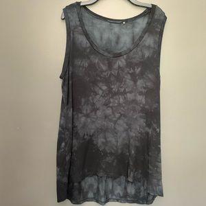 Tahari Black Tie Dye High Low Tank Top